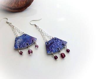 Earrings, blue, red, dark Amethyst, a line.