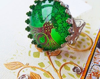 Tree of life glass cabochon ring