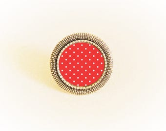 Ring silver adjustable cabochon red dots