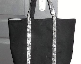 Black canvas tote bag and silver Zebra, vanessa bruno-inspired lace