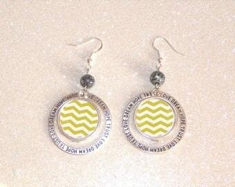 hoop earrings silver cabochon patterns geometric yellow chevron