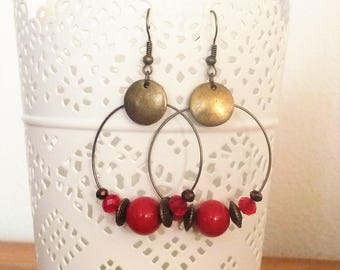 Earrings ' hoop earrings, bronze and red with sequins and beads, vintage, boho Bohemian chic trend