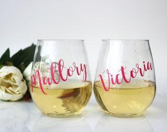 PLASTIC wine glasses, Personalized Wine Glasses, Bridesmaid Gift, Bachelorette Party, Bridesmaid Wine Glass, Shatterproof, Personalized