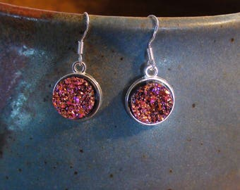 Sparkling Druzy Lightweight Women's Dangle Earrings .925 Sterling Silver Ear Wire Choose Colors Pink Rose, Green Grass and Cream Soda