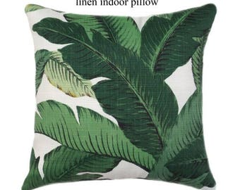 SALE Indoor LINEN Pillow // Palm Leaf Pillow Cover // Green Pillow Cover // Hollywood Regency Decor // Hawaiian Decor // Banana Leaf Pillow