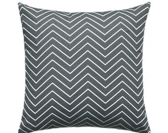 SALE Dark Grey Pillow Covers, Grey Decorative Pillows, Grey Chevron Pillow, Grey Throw Pillow Covers, Grey and White Zippered Accent Pillow