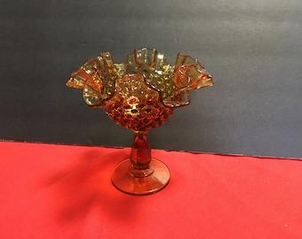 Amber Glass Hobnail Pedestal Dish/Compote
