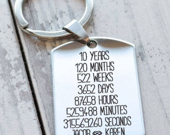 10 Year Anniversary Personalized Key Chain - Engraved