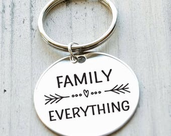 Family Over Everything Personalized Key Chain - Engraved