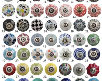 Ceramic Porcelain Door Knobs, Various Multi Coloured Designs, Kitchen Cabinet, Cupboard China Drawer Pulls