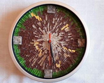 Mosaic Wall Clock - Earth - medium size - Free Shipping