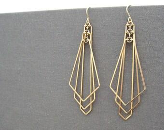 Gold Filled Geometric Earrings - modern statement art deco fan, nickel free minimalist wedding jewelry - Tiered Arrow