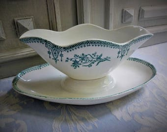 Vintage French ironstone gravy dish, gravy boat, authentic 1930's porcelain antique transferware, cream and dark turquoise, VGC, shabby chic