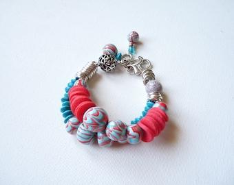 Polymer bracelet double strand coral blue