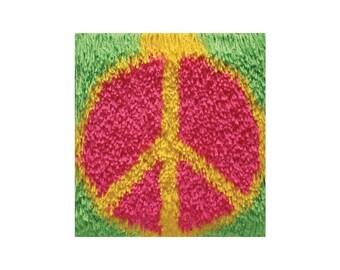 Peace Sign Shaggy Latch Hook Kit