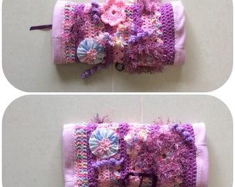 Pink Mauve Crochet Fidget Sensory Twiddle Muff Dementia Alzheimers Autism
