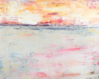 Original Acrylic Landscape Painting. Abstract Art Painting. Home Wall Decor. Pink Sunrise. Art Gift for Wife. Apartment Decor
