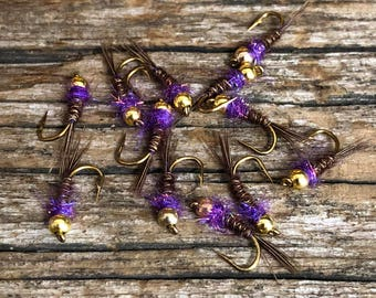 Frenchie Fly Pattern, One Dozen Purple Frenchies, hand tied flies, hand made, made in the USA, flyfishing flies