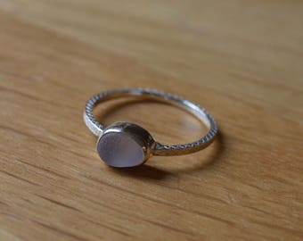 Silver Bezel Sea Glass Ring with Decorative Silver Band