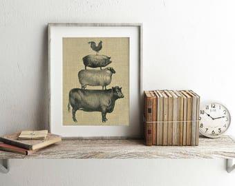 Farm Animal Prints - Burlap Print - Stacked Farm Animals - Farmhouse Wall Decor - Farmhouse Prints - Farmhouse Decor - Stacked Farm Animals