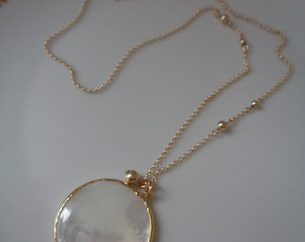 Gold chain with Pearl pendant, 585 gold filled, elegant design