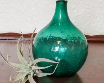 Vintage Seeded Glass Bud Vase - Aqua Bubble Glass