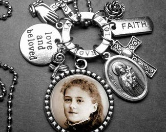 St. Therese of Lisieux as Young Girl The Little Flower Picture Pendant & Multi Charm Necklace, Confirmation Gift, Catholic Gift, Patron St.