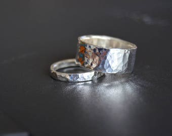 Partner-rings (small + wide) hammered Silver 925