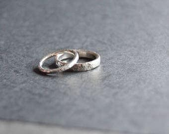 Partner-rings-set micro hammered Silver 925