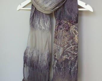 Nuno Felted Shawl, Nunofelt Silk Shawl, Nunofelted Silk Scarf, Gray Silk Scarf