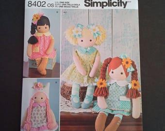 "Simplicity 8402 OS, 8402, 23"" stuffed doll pattern, diy 23"" doll, diy dolly, diy toy, diy doll, diy doll with clothing, doll pattern"