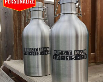 Custom Stainless Steel Beer Growler with personalized design, personalized growler, laser engraved, home brew, birthday gift