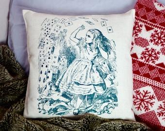 Alice in Wonderland Cushion - Shower of Cards - Canvas Feel - 40cm x 40cm Cream