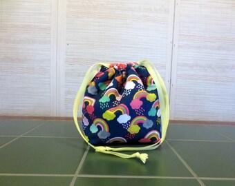 Rainbows - Small Drawstring, Divided Knitting Project Bag, Crochet Bag, Sock Project Bag, Knitting Organizer, Unicorns