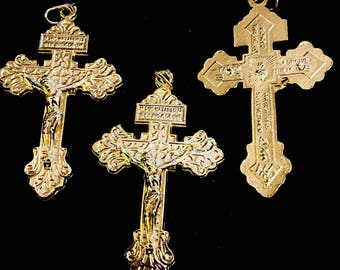 Lot of 3 Goldtone Italian Made Pardon Crucifix Double Sided Rosary Cross