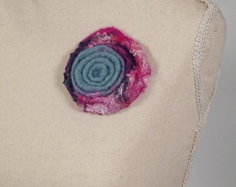 Felted  Brooch, Vintage Felted Flower, Blue Flower, NunoFelted, Unique Silk Accessory