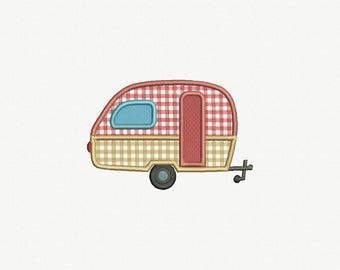 Rv Camper Trailer Applique Machine Embroidery Designs - 4 sizes