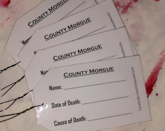 4-Pack! Morgue Toe Tag Costume Props/Accessories