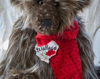 "Wallace Bear 22"" Faux Fur Artist Teddy Bear by Patricia Bruce"