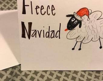 Fleece Navidad Punny Holiday Card