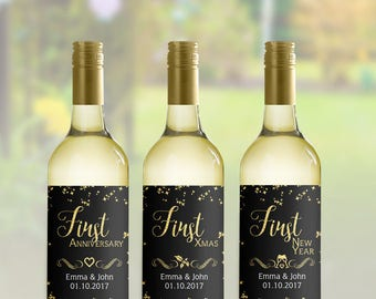6 Marriage Milestone Wine Labels, Wedding Wine Firsts, 6 Marriage Firsts Glitter Labels, Married Firsts Milestones, Wedding Milestone Gift