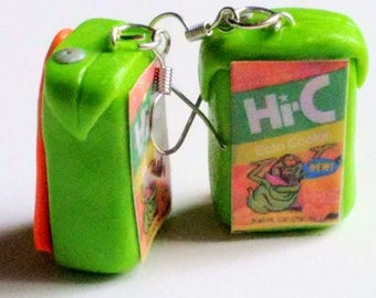 Juice Box Ecto Cooler Earrings - Miniature Food Jewelry - Ghostbusters - Inedible Jewelry - Drink Earrings, Kawaii Jewelry - Kid's Jewelry