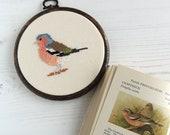 Cross stitch bird. Chaffinch cross stitch pattern. Chaffinch pattern. Chaffinch chart. Bird pattern. Bird chart. PDF instant download.