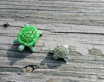 Vintage enamel and rhinestone turtle brooches lot of 2