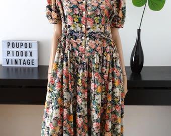 Robe vintage KANDJI fleurie taille L / taille 42/44 - uk 14/16 - us 10/12