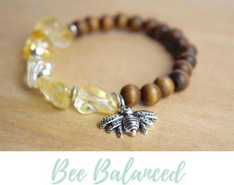 Boho Citrine Jewelry / bee jewelry gift, solar plexus chakra, women insect jewelry, citrine boho jewelry, sacral chakra, silver bee bracelet