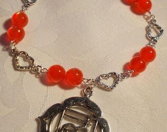 Root/Base Chakra Bracelet Red Silver Plate Catseye bead Heart Reiki Spiritual