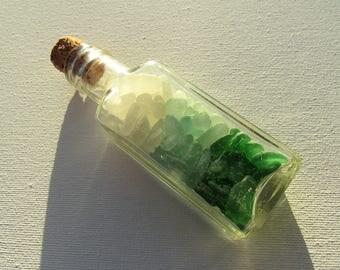 Sea Glass Bottle. Seascape bottle. Seaglass bottle. Vintage corked bottle. Bathroom Beach decor. Aqua green white sea glass. Antique bottle