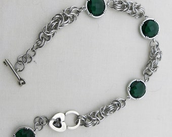 Byzantine chainmaille bracelet, green crystal links, chainmaille bracelet