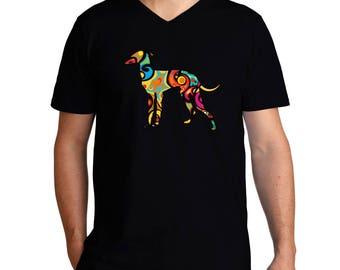 Psychedelic Italian Greyhound V-Neck T-Shirt